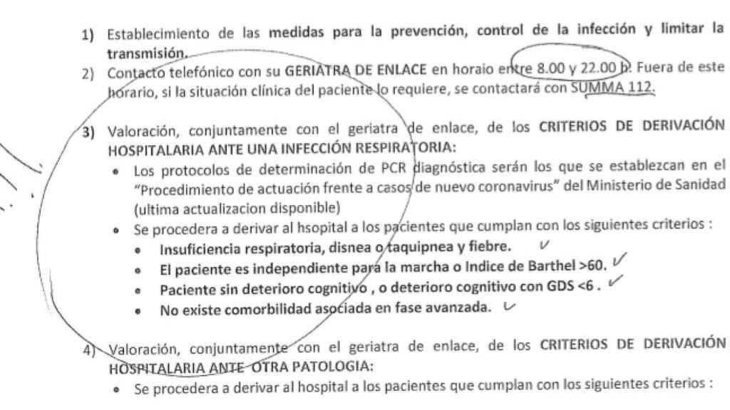 El protocolo distribuido, en el que se establece quién no puede ser derivado a un hospital.