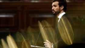 Pablo Casado, durante su intervención en el Congreso en la prórroga del estado de alarma.