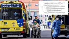 Un anciano evacuado de una residencia y el documento que establece el protocolo.