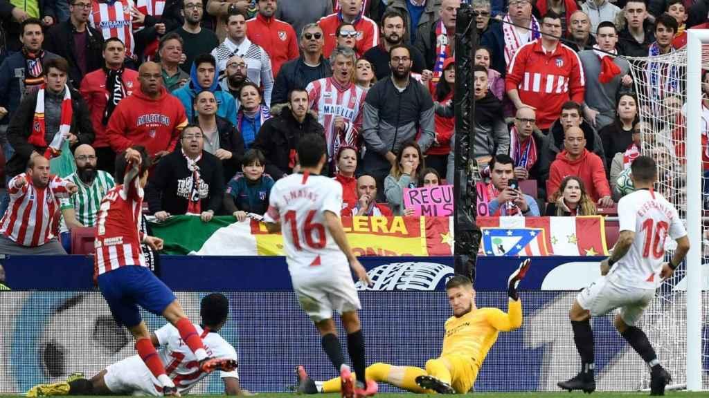 Casi 60.000 personas abarrotaron el Wanda Metropolitano durante el Atlético-Sevilla del 7 de marzo.