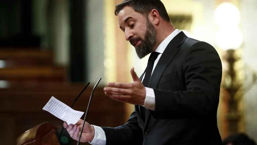 Santiago Abascal, durante su discurso en la tribuna del Congreso.