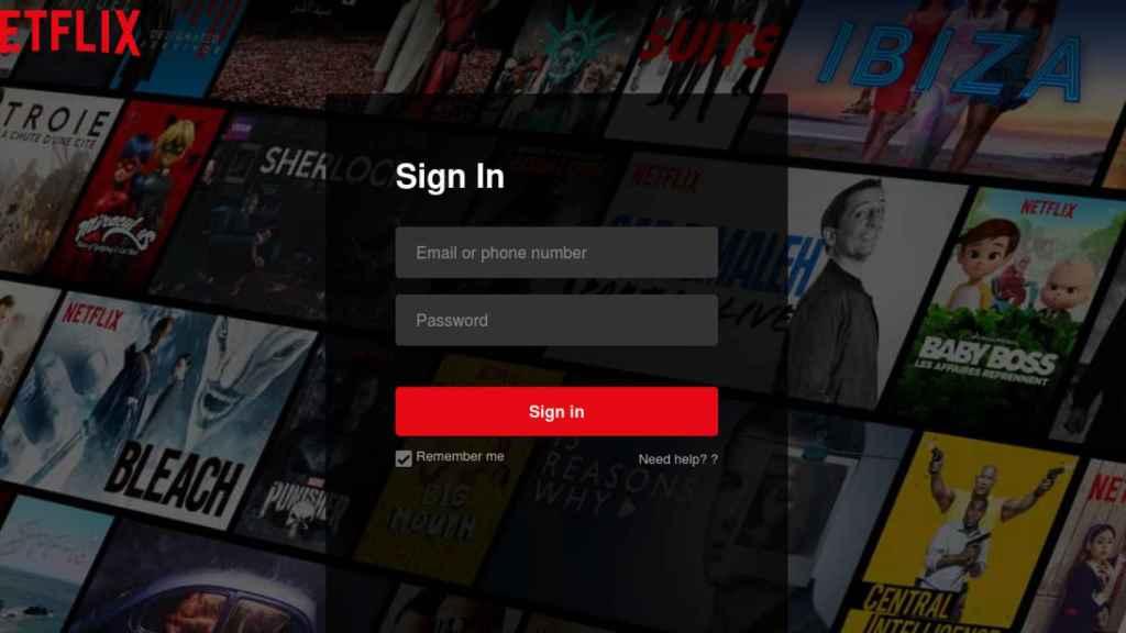 Página falsa de Netflix