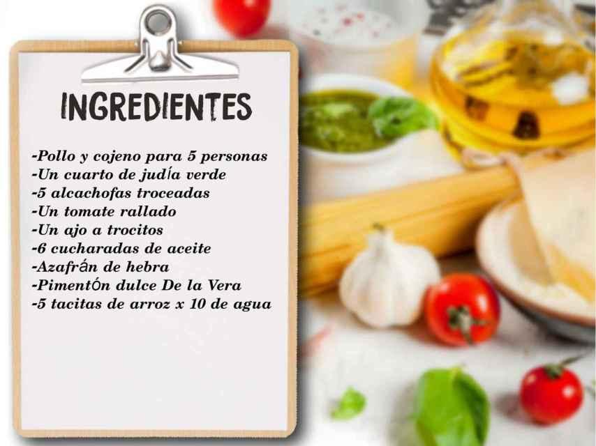 Los ingredientes que se necesitan para la paella de Arévalo.