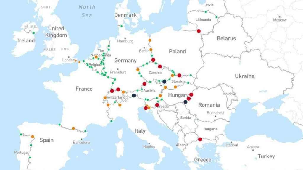 Mapa de los pasos fronterizos para camiones.