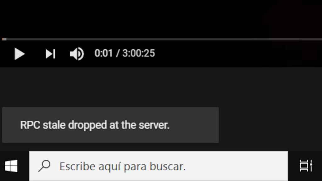 Mensaje de error en Youtube