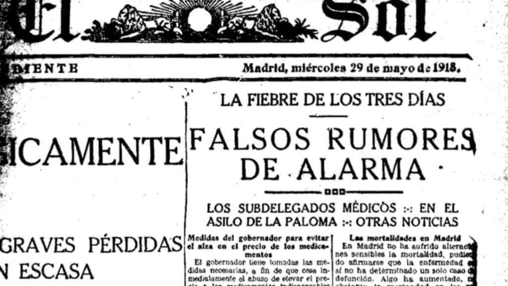 Portada de 'El Sol' durante la pandemia de la gripe española.