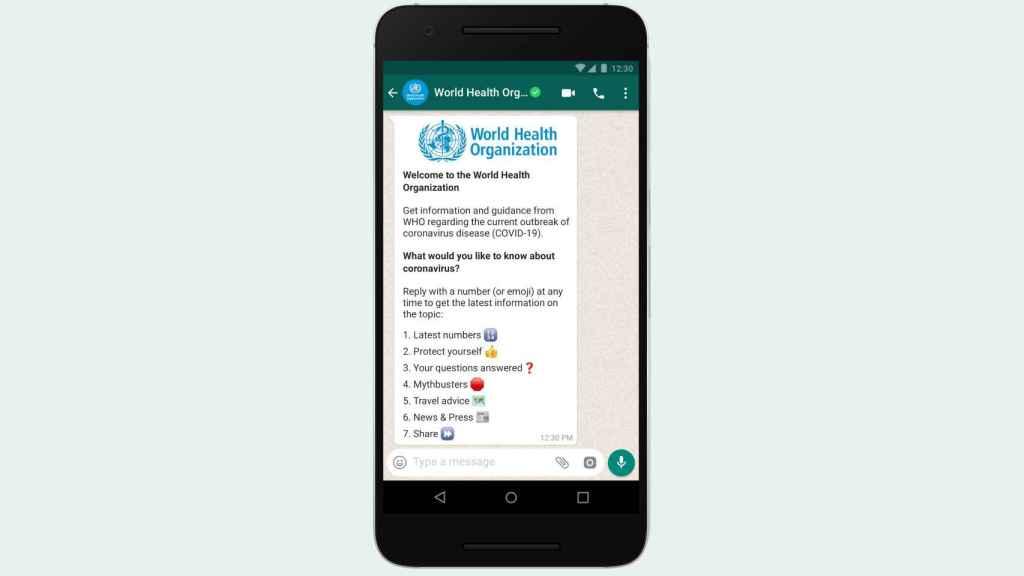 Whatsapp ha integrado un bot de la OMS con información del coronavirus