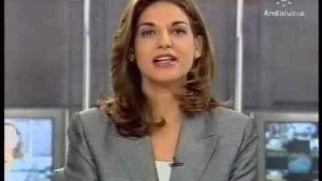 Mariló Montero presentando los informativos de Canal Sur en 1999.