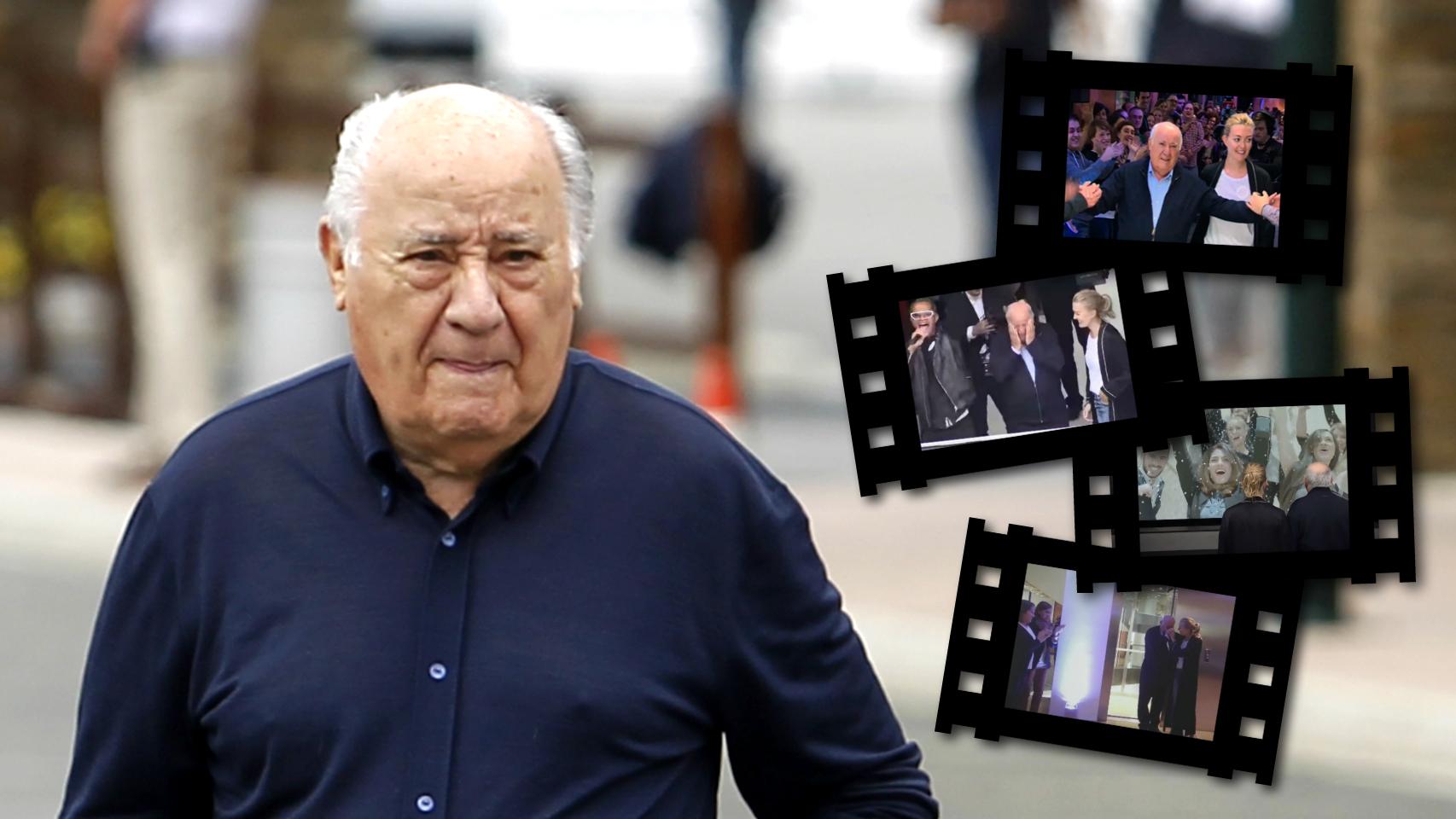 Amancio Ortega en un montaje de JALEOS junto a algunos fotogramas del vídeo con motivo de su 80 cumpleaños.