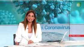 Mariló Montero presentando los informativos de Canal Sur.