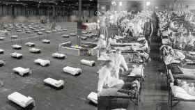 Hospital de campaña en IFEMA por el coronavirus y en Kansas en 1918 por la gripe española.