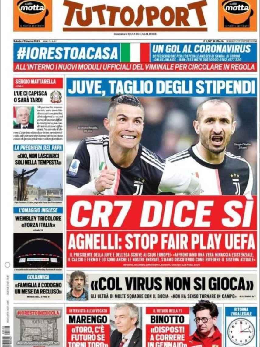 La portada del diario italiano Tuttosport del día 28 de marzo de 2020
