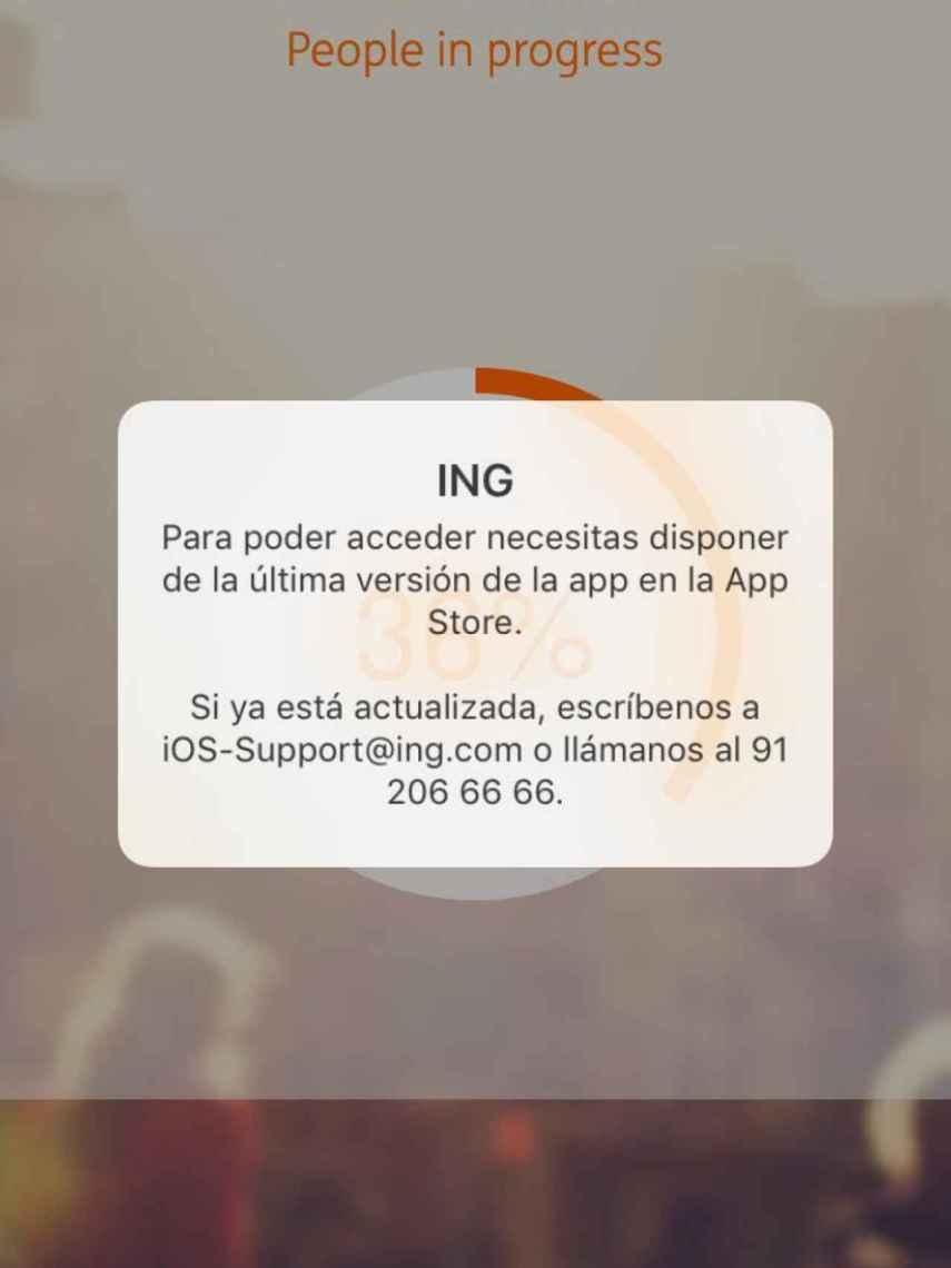 Mensaje de error de la app de ING.