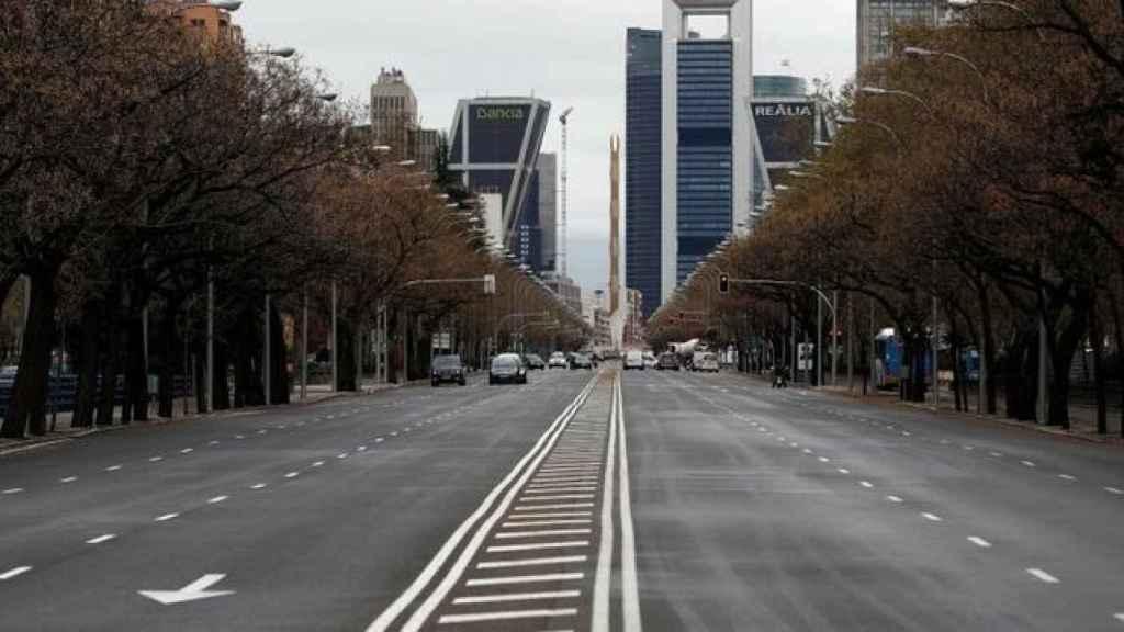 El Paseo de la Castellana de Madrid en pleno estado de alarma.