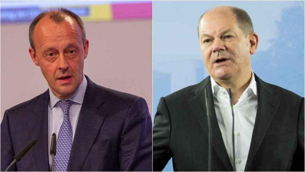Friedrich Merz y Olaf Scholz, otros dos posibles candidatos a la sucesión.