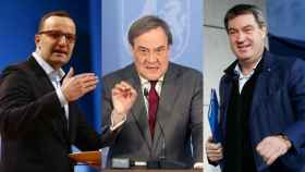 Jens Spahn, Armin Laschet y Markus Söder, posibles candidatos a suceder a Angela Merkel.
