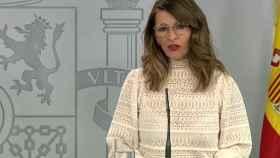 La ministra de Trabajo, Yolanda Díaz, en rueda de prensa en Moncloa.