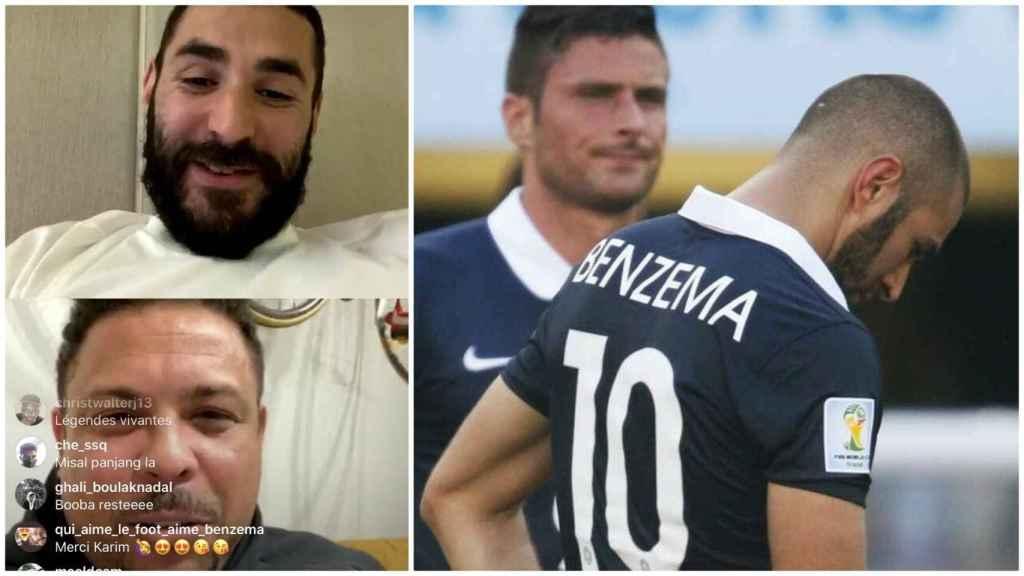 Benzema y Ronaldo, en un directo de Instagram