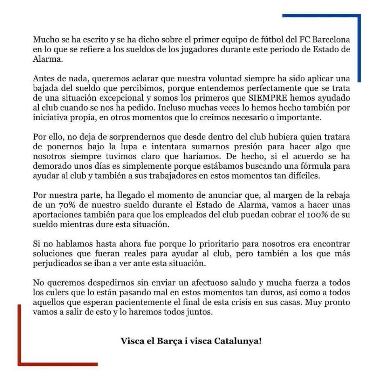 El comunicado de Leo Messi anunciando la rebaja salarial de la plantilla del Barça