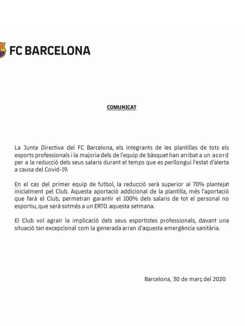 El comunicado oficial del Barça anunciando el acuerdo con los jugadores