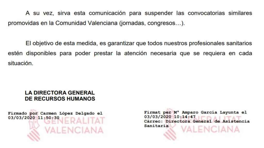 Recorte de la nota informativa enviada por la Generalitat valenciana a sus médicos el 3 de marzo de 2020.