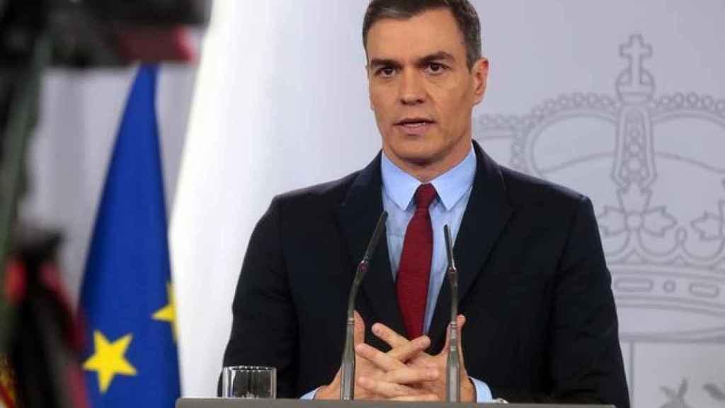 El presidente del Gobierno, Pedro Sánchez, durante una intervención reciente en el Palacio de La Moncloa..L