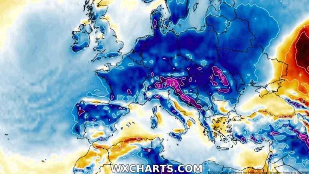 Ilustración de las anomalías de temperaturas en Europa durante el temporal. Severe-weather.eu.