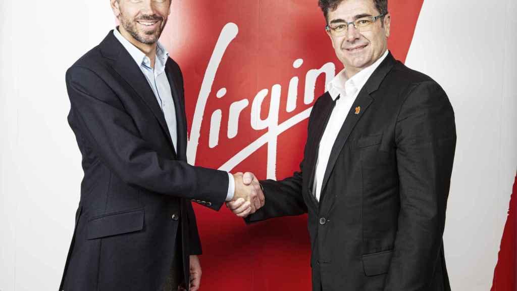 Josh Bayliss, CEO del Grupo Virgin, y José Miguel García, CEO del Grupo Euskaltel.