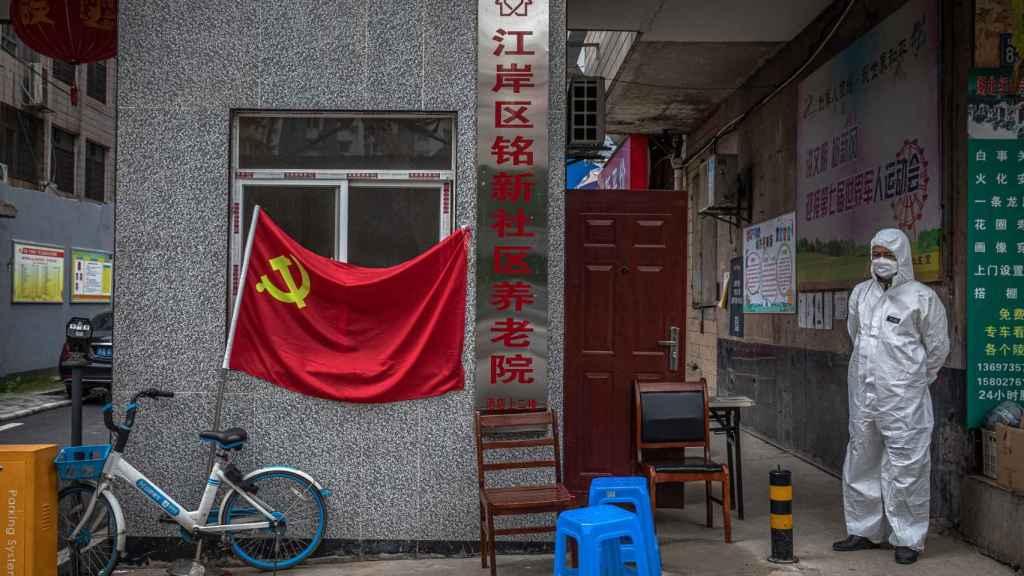 Entrada a un complejo residencial en la ciudad de Wuhan.