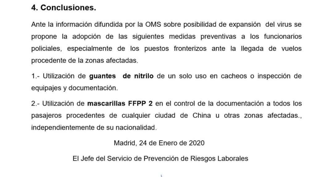 Extracto del informe policial en el que se realizan una serie de recomendaciones para la protección sanitaria de los agentes. Está fechado el 24 de enero de 2020.