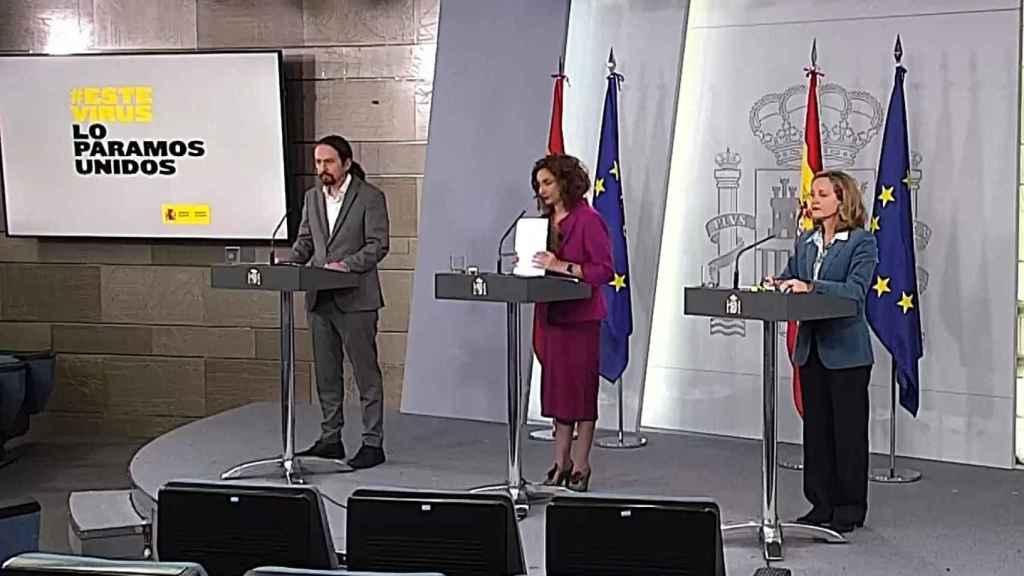 Iglesias, Montero y Calviño en Moncloa