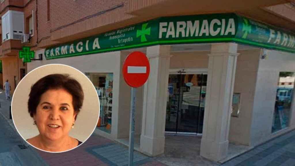 La farmacéutica fallecida, Amparo Gadea, y la farmacia que dirigía en Alcázar de San Juan (Ciudad Real).