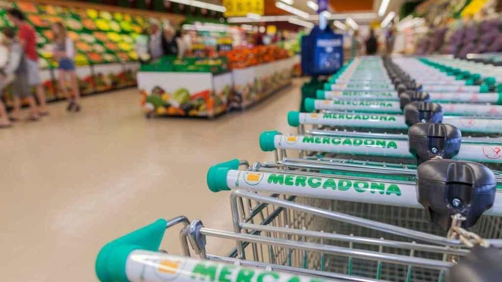 Hilera de carritos en un supermercado Mercadona.