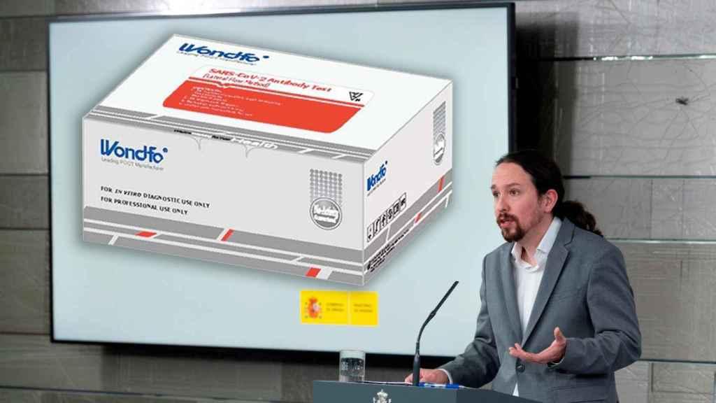 Montaje de Iglesias en Moncloa y la caja de Wondfo Test anticuerpos SARS-CoV-2