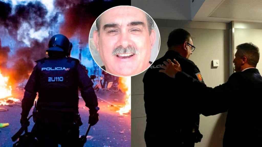 A un lado, el agente en los disturbios en Barcelona. Al otro, cuando Marlaska le visitó en el hospital.