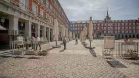 La Plaza Mayor de Madrid, casi desierta.