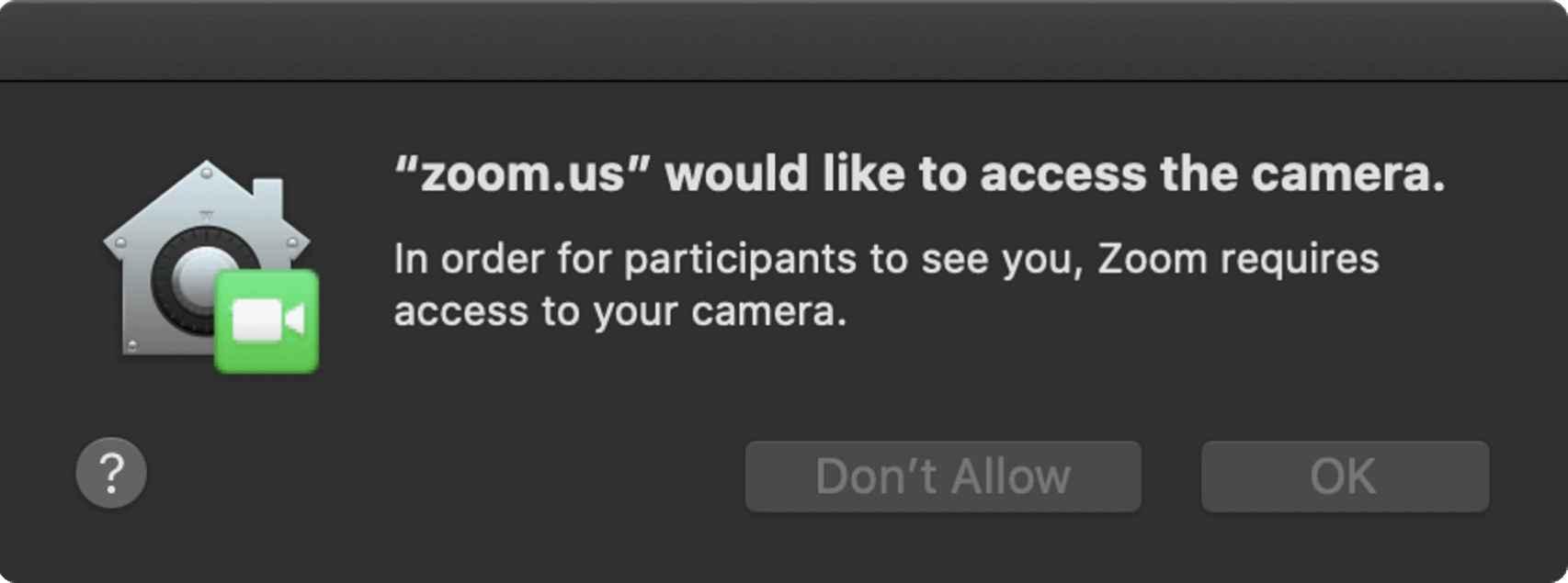 Mensaje emergente en el que Zoom pide permiso para acceder a la webcam
