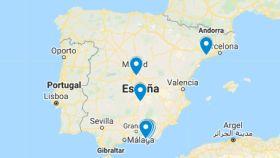 Mapa de gasolineras.