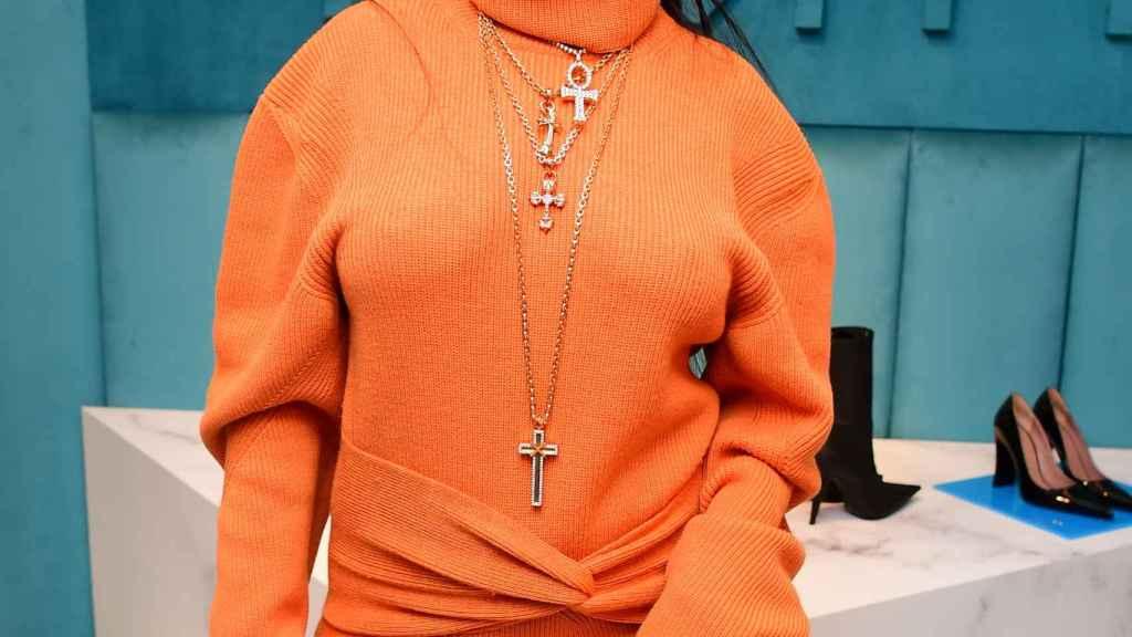 La cantante Rihanna en la presentación de su última colección de maquillaje.