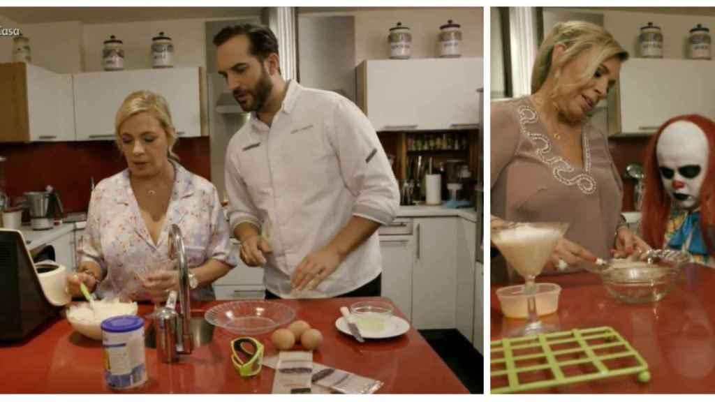 Carmen Borrego junto al chef Mario Sandoval y a Payasín en 'Ven a cenar conmigo: Gourmet Edition'.