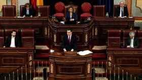 El presidente del Gobierno, Pedro Sánchez, en una comparecencia ante el pleno del Congreso.