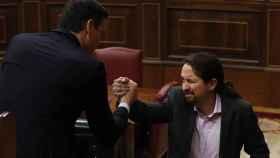 Pedro Sánchez y Pablo Iglesias, en una imagen de archivo, en el Congreso de los Diputados.