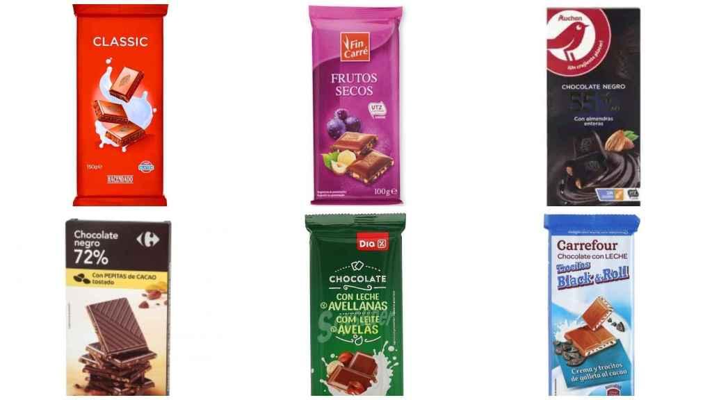 Tabletas de chocolate de marca blanca de Alcampo, Carrefour, Mercadona, Dia, Aldi y Lidl.