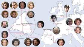 El mapa de los Borbón y Grecia y los Ortiz Rocasolano, confinados en Europa.