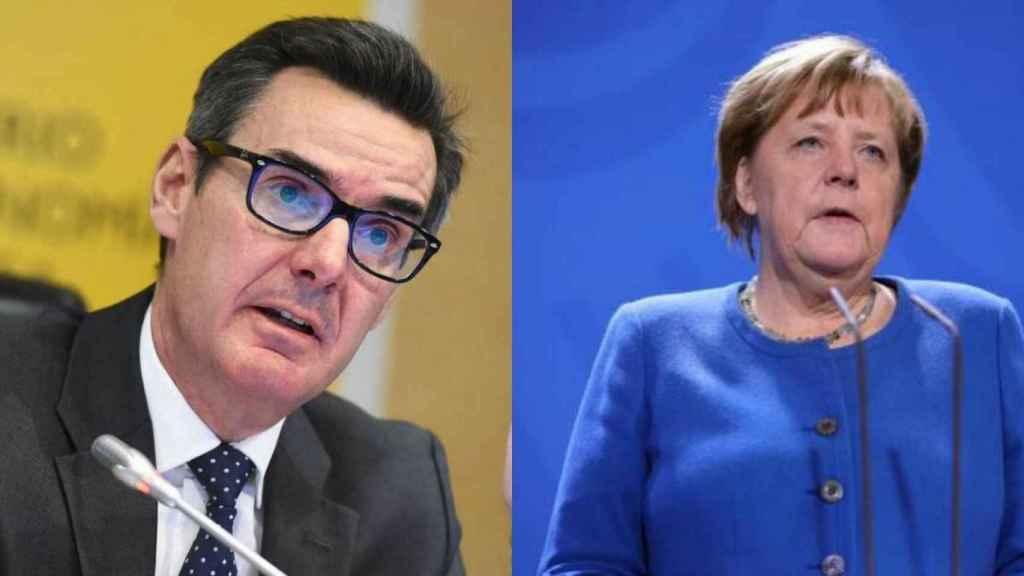 El secretario del Tesoro, Carlos San Basilio, y la canciller, Angela Merkel.