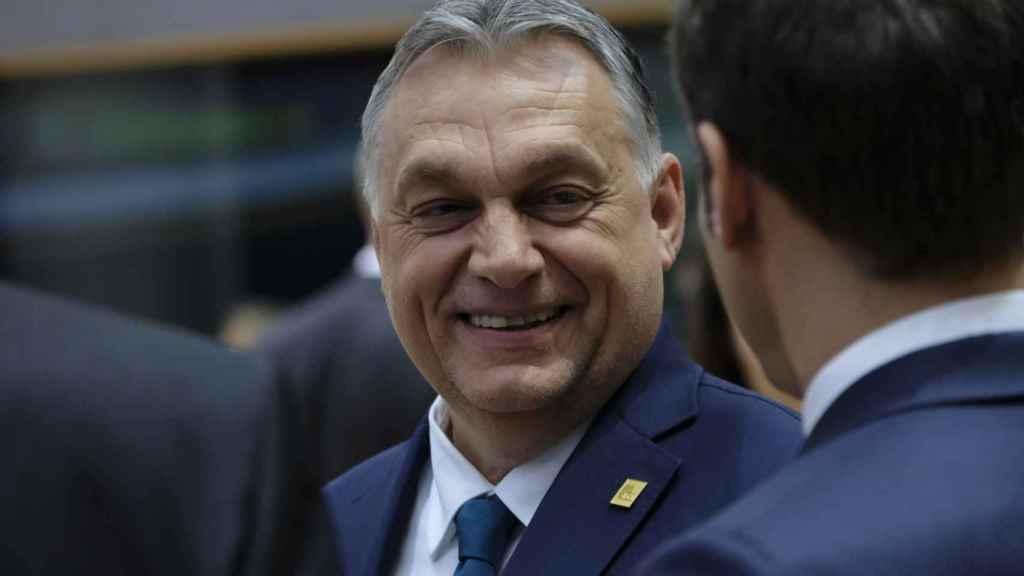 El primer ministro húngaro, Viktor Orbán, durante la última cumbre presencial de la UE en febrero.