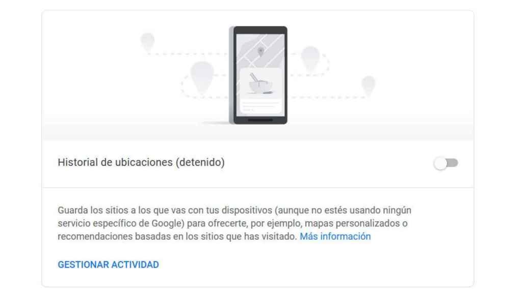 Opción para desactivar el historial de ubicaciones en Google