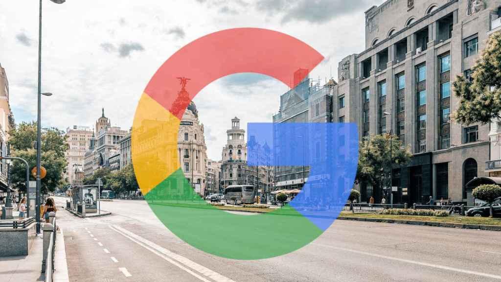 Logotipo de Google sobre una foto de Madrid