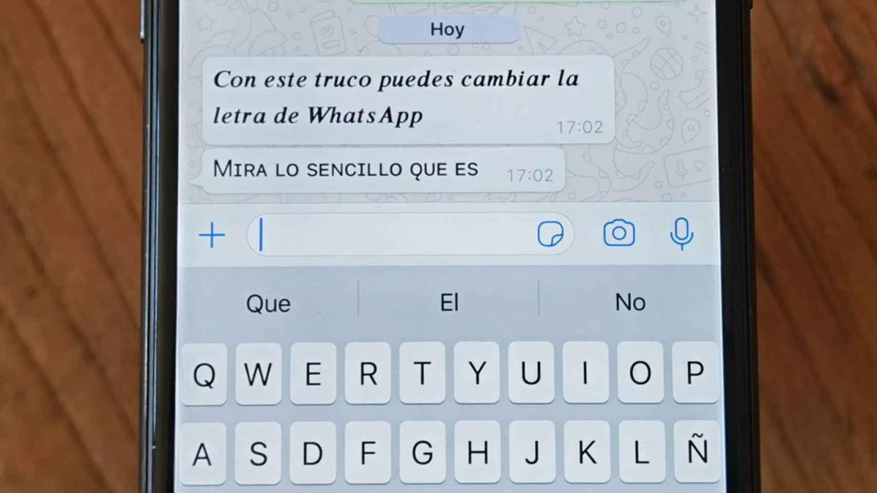 Cambio de fuente en WhatsApp