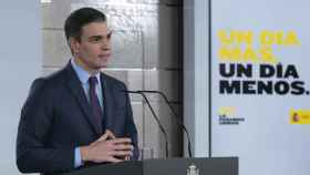 El presidente Pedro Sánchez en su comparecencia de este sábado en Moncloa.